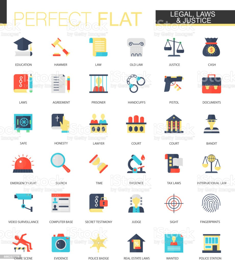 Vector set of flat law legal and justice icons vector art illustration