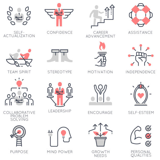 Vector set of flat linear icons related to business management, strategy, career progress and business process Vector set of flat linear icons related to business management, strategy, career progress and business process. Flat infographics design elements with stroke lines confidence stock illustrations