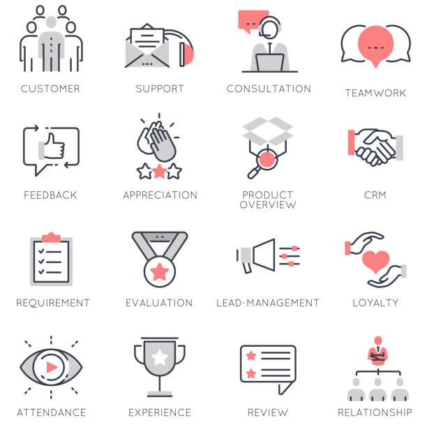 vektor-set flach lineare symbole im zusammenhang mit betriebswirtschaft, feedback, beziehung und evaluation - feedback stock-grafiken, -clipart, -cartoons und -symbole
