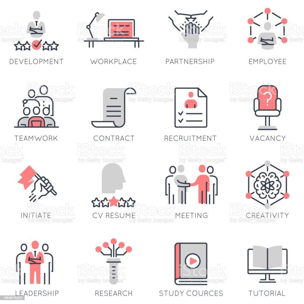 Conjunto de vector de plano lineales iconos relacionados con la gestión de recursos humanos, desarrollo profesional - ilustración de arte vectorial
