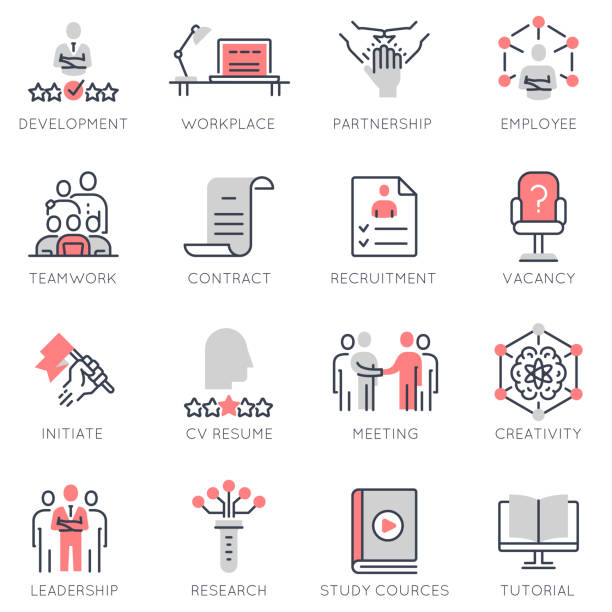 Vector set of flat linear icons related to human resource management, career progress vector art illustration