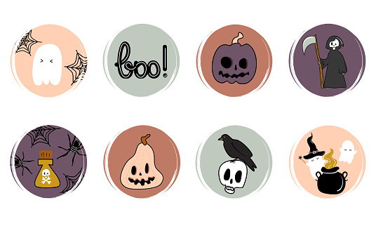 Vector set of flat logo design templates, icons and badges for social media highlight with cute traditional halloween elements