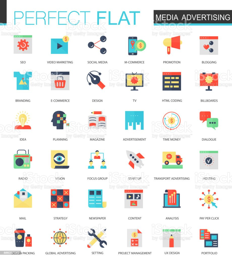 Vector set of flat Media advertising icons vector art illustration
