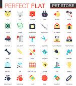Vector set of flat Pet friend icons isolated.
