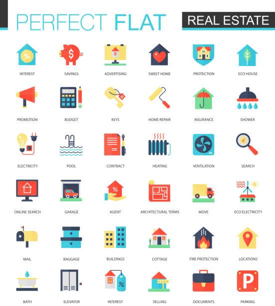 illustrations, cliparts, dessins animés et icônes de ensemble de vecteur d'icônes de plat immobilier. - logos immobilier