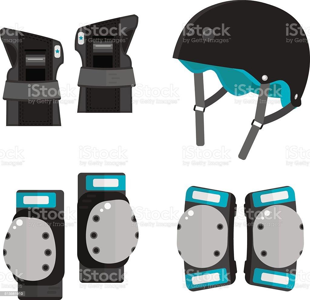 Vector set of flat roller skating and skateboarding protective vector art illustration