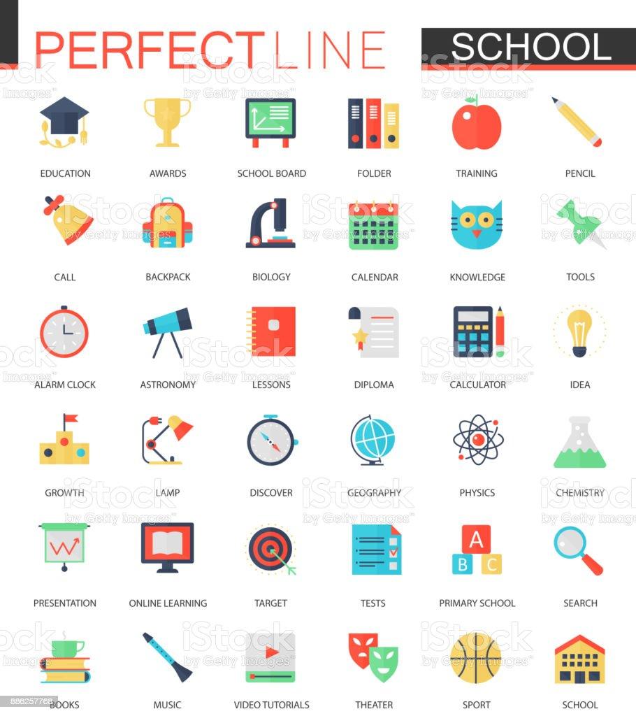 Vektor-Set von flachen Schule Bildung Symbole. – Vektorgrafik