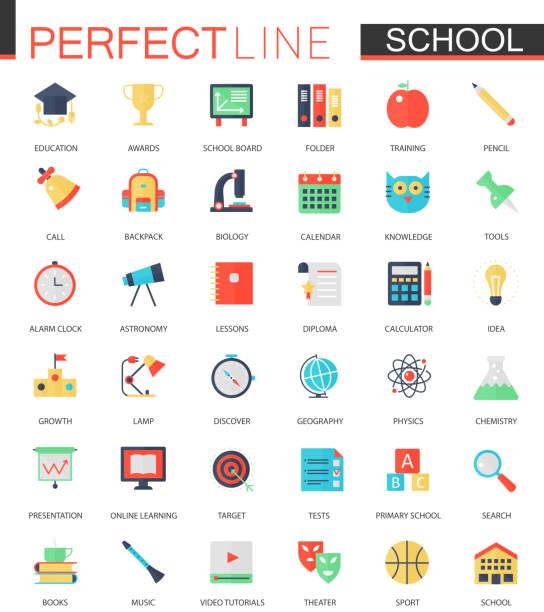 vektor-set von flachen schule bildung symbole. - urlaubsaktivitäten stock-grafiken, -clipart, -cartoons und -symbole