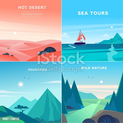 Vector set of flat summer landscape illustrations with desert, ocean, mountains, sun, forest on blue clouded sky. Perfect for travel camping tour poster, placard, flayer, leaflet, banner. Nature view.