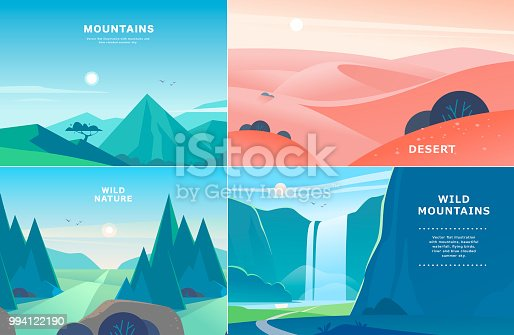 Vector set of flat summer landscape illustrations with desert, waterfall, mountains, sun, forest on blue clouded sky. Good for travel camping tour poster, placard, flayer, leaflet, banner. Nature view