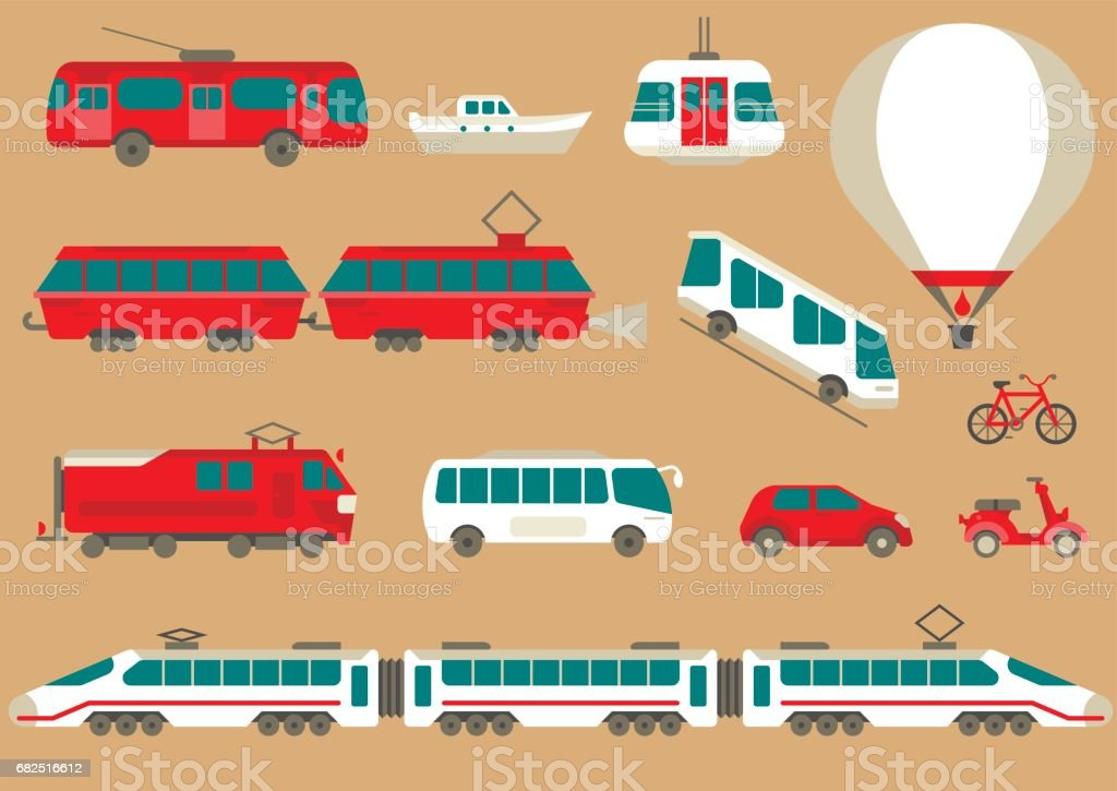 Vector set of flat urban transport to create and generate tourist maps. royalty-free vector set of flat urban transport to create and generate tourist maps stock vector art & more images of balloon