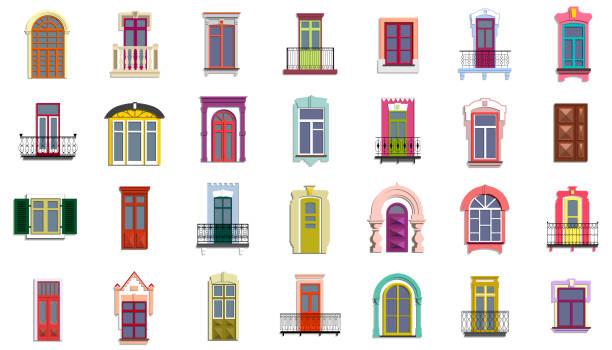 stockillustraties, clipart, cartoons en iconen met vector set van plat vintage kleurrijke decoratieve deuren, ramen, balkons. - raam