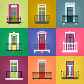 Vector set of flat vintage decorative balconies on colorful grunge facades.
