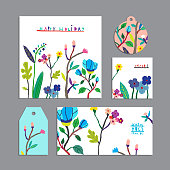 Vector set of floral cards with flowers.Invitation, gift tag, label, banner. Beautiful freehand colorful illustrations.Design for poster, card, invitation, placard, brochure, flyer with place for text
