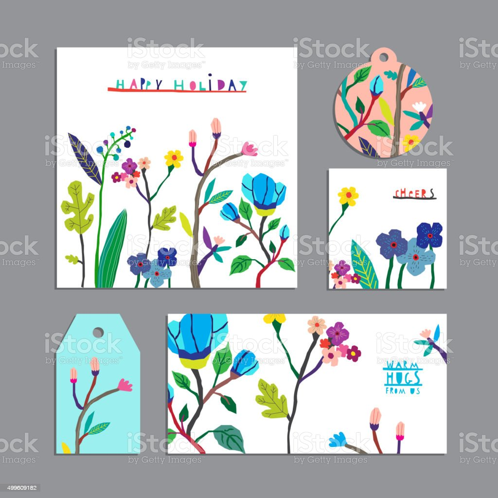 Vector set of floral cards with flowers vector art illustration