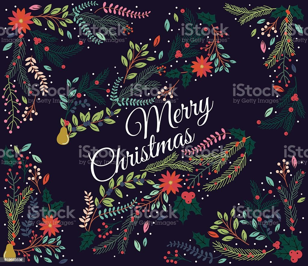 Vector Set of Floral Decorations for Christmas or Winter Holidays vector art illustration