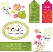 """A collection floral frames, tags and cards and other elements are displayed in this image.  There is a total of six items in all.  There are two tags, one colored green and the other, pink.  The green tag reads """"A gift for you,"""" while the pink tag reads """"Thanks.""""  There are orange floral patterns on the lower portion of the pink tag.  The green tag contains a leaf pattern with leaves that are darker than the background of the tag.  There are two large rectangular tags that reads """"Floral"""" and a green tag that reads """"A paper ribbon for your designs.""""  The entire image is set against a white background."""