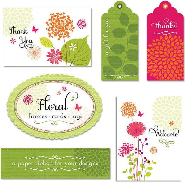 illustrazioni stock, clip art, cartoni animati e icone di tendenza di vector set di cornici, fiori e schede etichette - farfalla ramo
