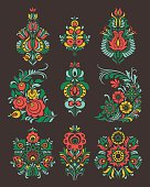 Vector set of flowers and floral composition in Russian Style
