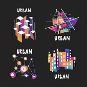 Vector set of fluid gradient hand-drawn logos on the theme of urban planning, city forum, communities, architecture, real estate.