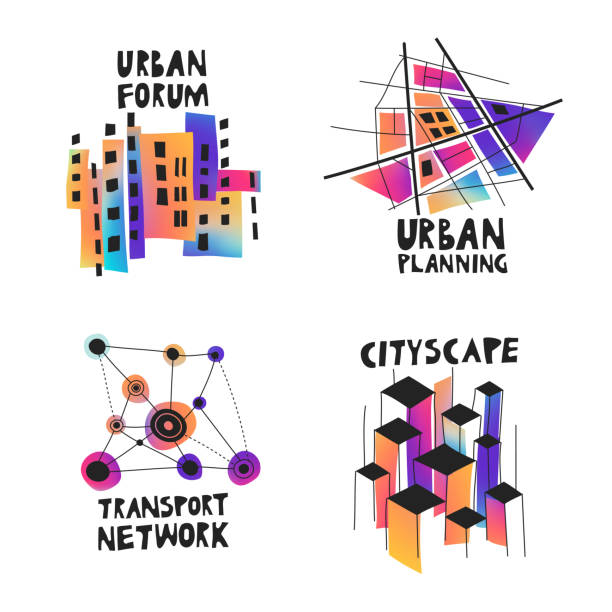 Vector set of fluid gradient hand-drawn logos on the theme of urban planning, city forum, communities, architecture, real estate. Vector set of fluid gradient hand-drawn logos on the theme of urban planning, city forum, communities, architecture, real estate. community drawings stock illustrations