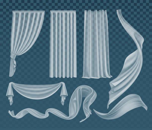 반투명 흰색 옷, 부드러운 경량 분명 소재와 배경에서 분리 하는 커튼을 나 부 끼고의 벡터 집합 - 반투명한 stock illustrations