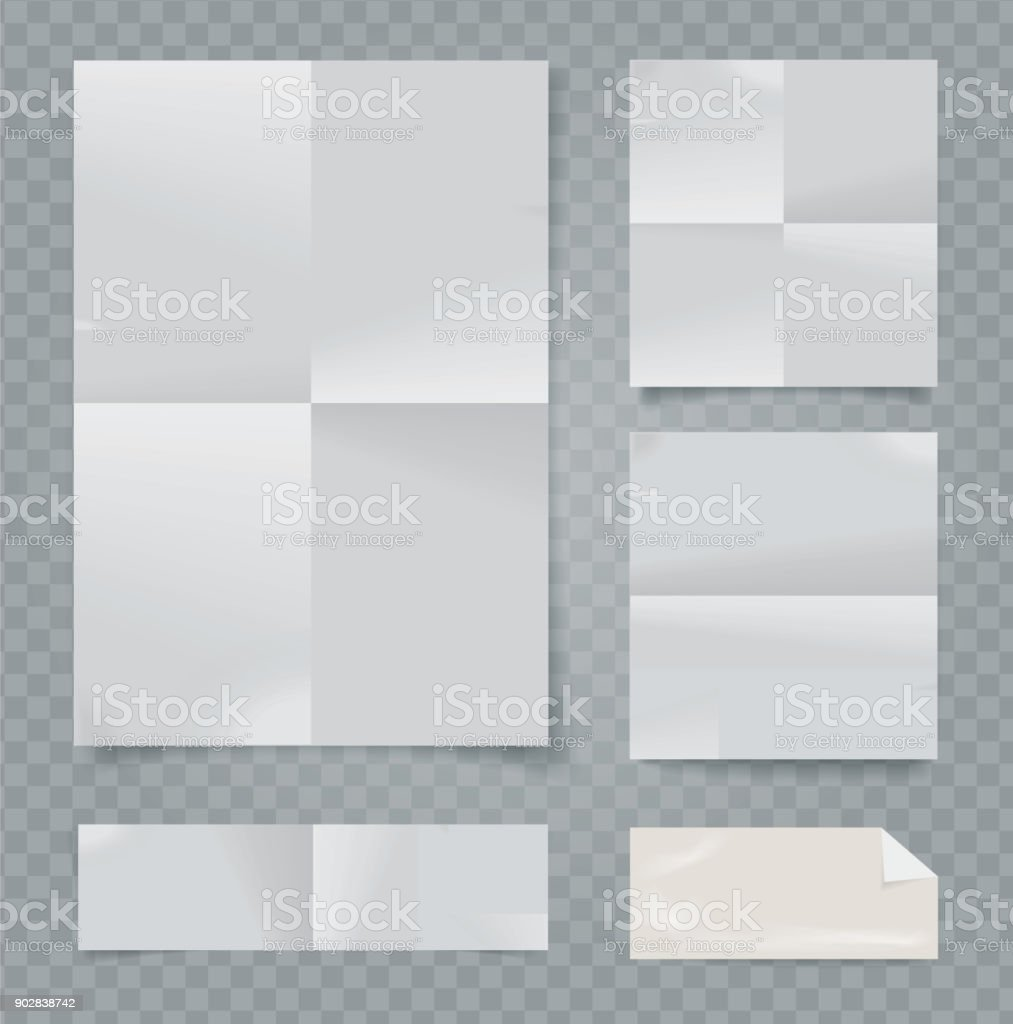Vector set of folded papers on transparent background. vector art illustration