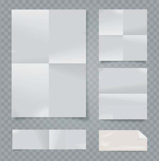vector set of folded papers on transparent background. - składany stan stock illustrations