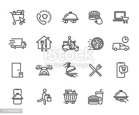 Vector set of food delivery line icons. Contains icons food basket, online order, food at home, contactless delivery, fast food, courier, restaurant at home and more. Pixel perfect.