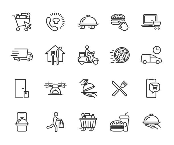 vector set of food delivery line icons. contains icons food basket, online order, food at home, contactless delivery, fast food, courier, restaurant at home and more. pixel perfect. - food delivery stock illustrations