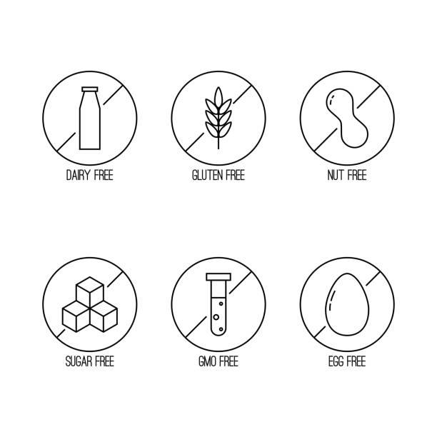 vektor satz von etiketten von lebensmitteln diät. - gluten stock-grafiken, -clipart, -cartoons und -symbole