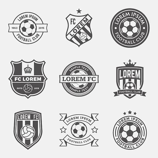 stockillustraties, clipart, cartoons en iconen met vector set of football (soccer) crests and logos - schild wapen