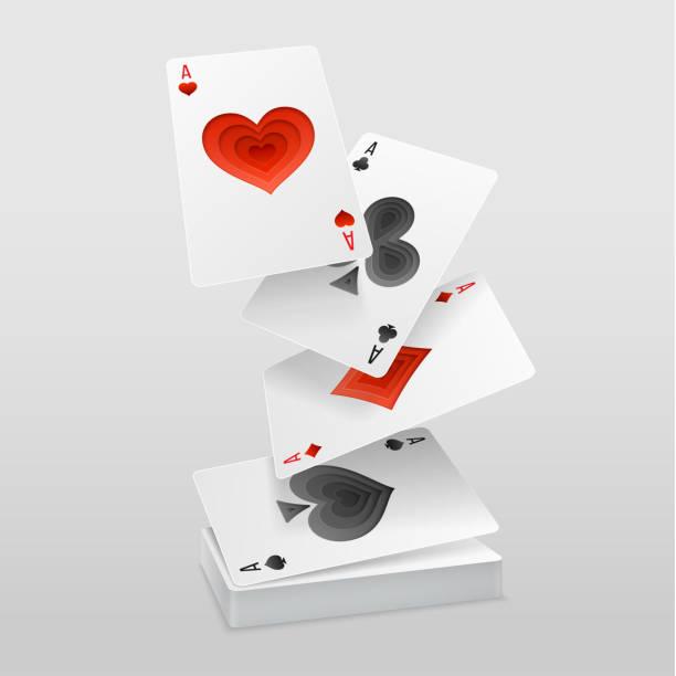 vektor satz von vier asse, die spielkarten auf dem kartenstapel fallen. - holzdeck stock-grafiken, -clipart, -cartoons und -symbole