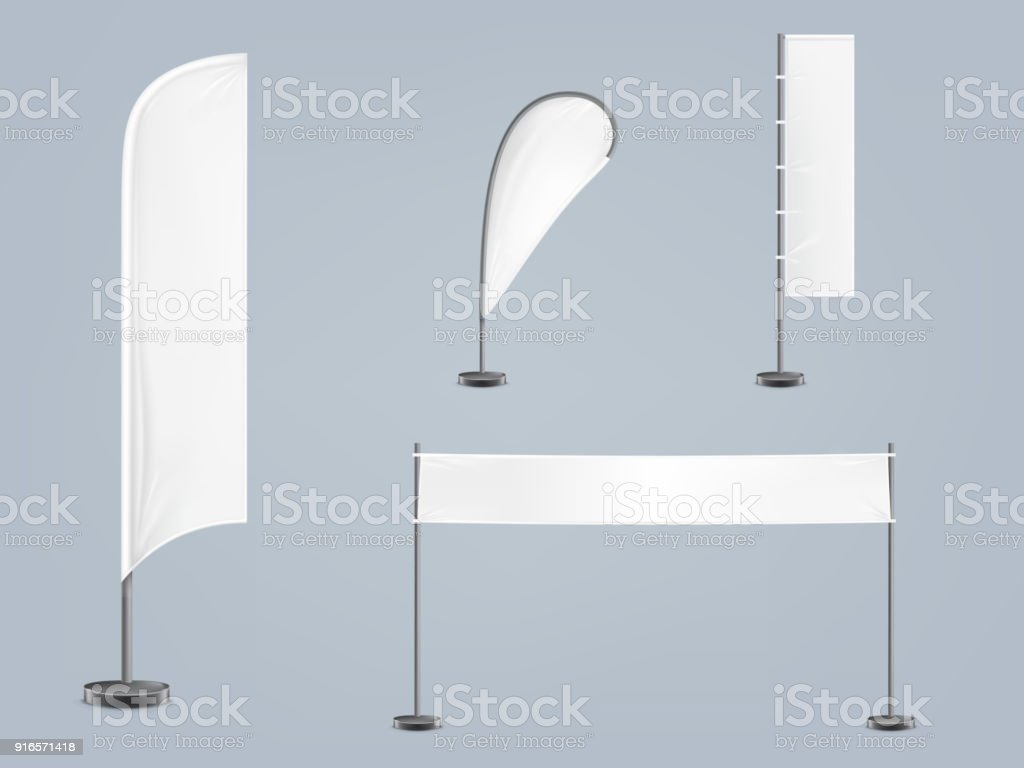 Vector set of four blank textile banners vector art illustration