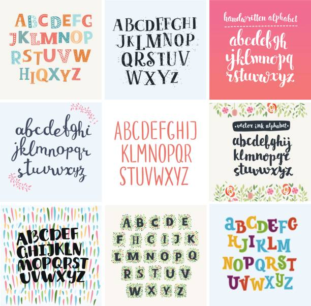 vector set of four difference english alphabets. - cartoon fonts stock illustrations, clip art, cartoons, & icons