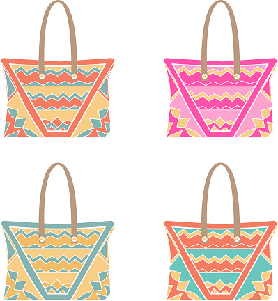 vector set of four illustrations of a beach bag