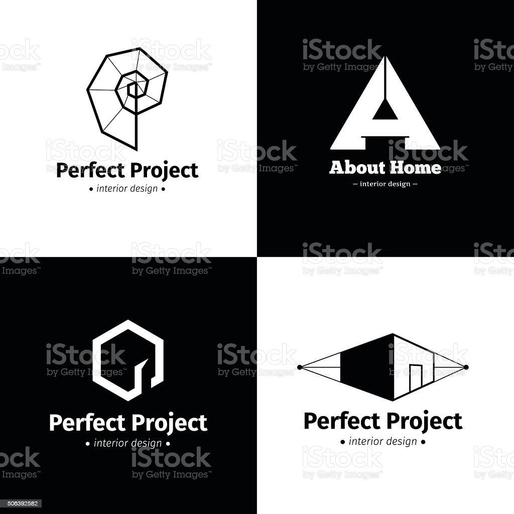 Vector set of four modern minimalistic interior design studio icons. vector art illustration