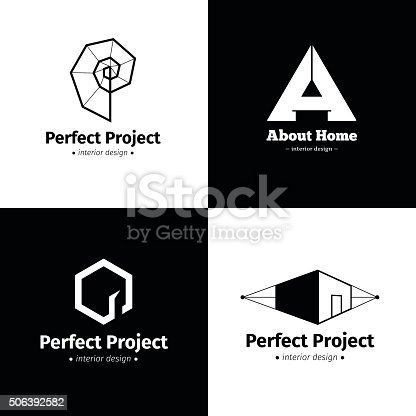 Vector Set Of Four Modern Minimalistic Interior Design Studio Icons Stock Art More Images Abstract 506392582