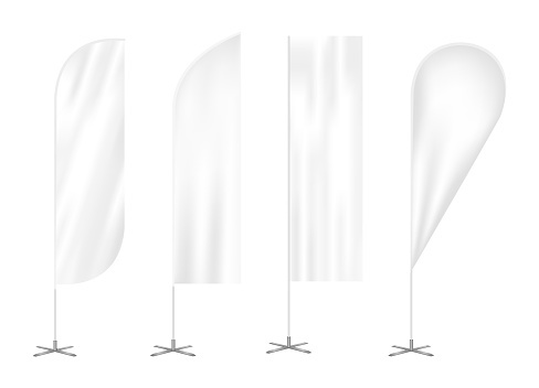 Vector set of four outdoor vertical feather advertising promo flags. Waving wind blade, teardrop and straight banners isolated on white.
