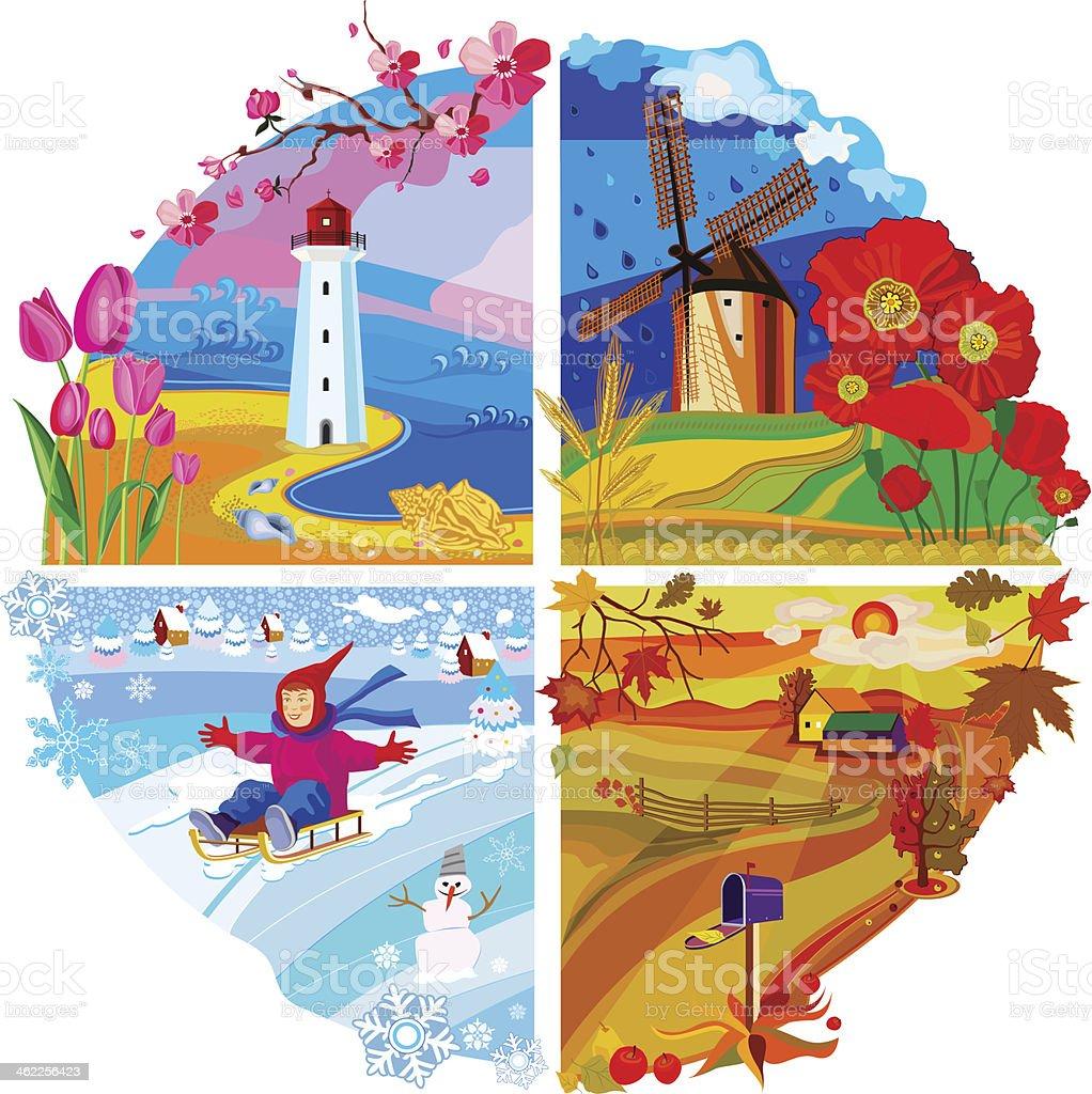 Vector set of four seasons vector art illustration