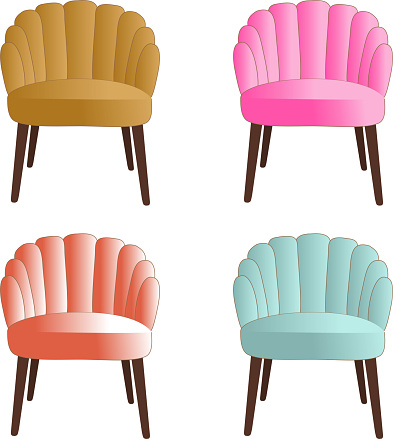 vector set of four upholstered chairs in bright colors
