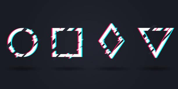 vektor einstellen der bilder im verzerrten glitch-stil. modern glitch logos. kreis, quadrat, dreieck, raute im verzerrten glitch-stil. moderne trendige hintergründe für design banner, poster, abdeckung - edm stock-grafiken, -clipart, -cartoons und -symbole