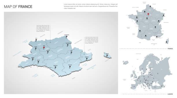 illustrations, cliparts, dessins animés et icônes de ensemble vectoriel du pays de la france.  carte 3d isométrique, carte de france, carte de l'europe - avec la région, les noms d'état et les noms de ville. - france