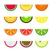 istock Vector set of fruit slices. Lemon, lime, orange, melon, watermelon, passion fruit, apple, pineapple, kiwi. Summer exotic theme 1202675664