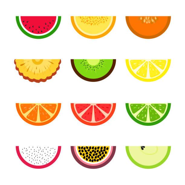 bildbanksillustrationer, clip art samt tecknat material och ikoner med vektoruppsättning fruktskivor. citron, lime, apelsin, melon, vattenmelon, passionsfrukt, äpple, ananas, kiwi. sommar exotiskt tema - cactus lime