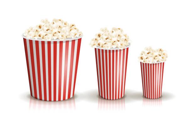 stockillustraties, clipart, cartoons en iconen met vector set volledig rood-wit gestreepte popcorn emmers in verschillende maten. - portie