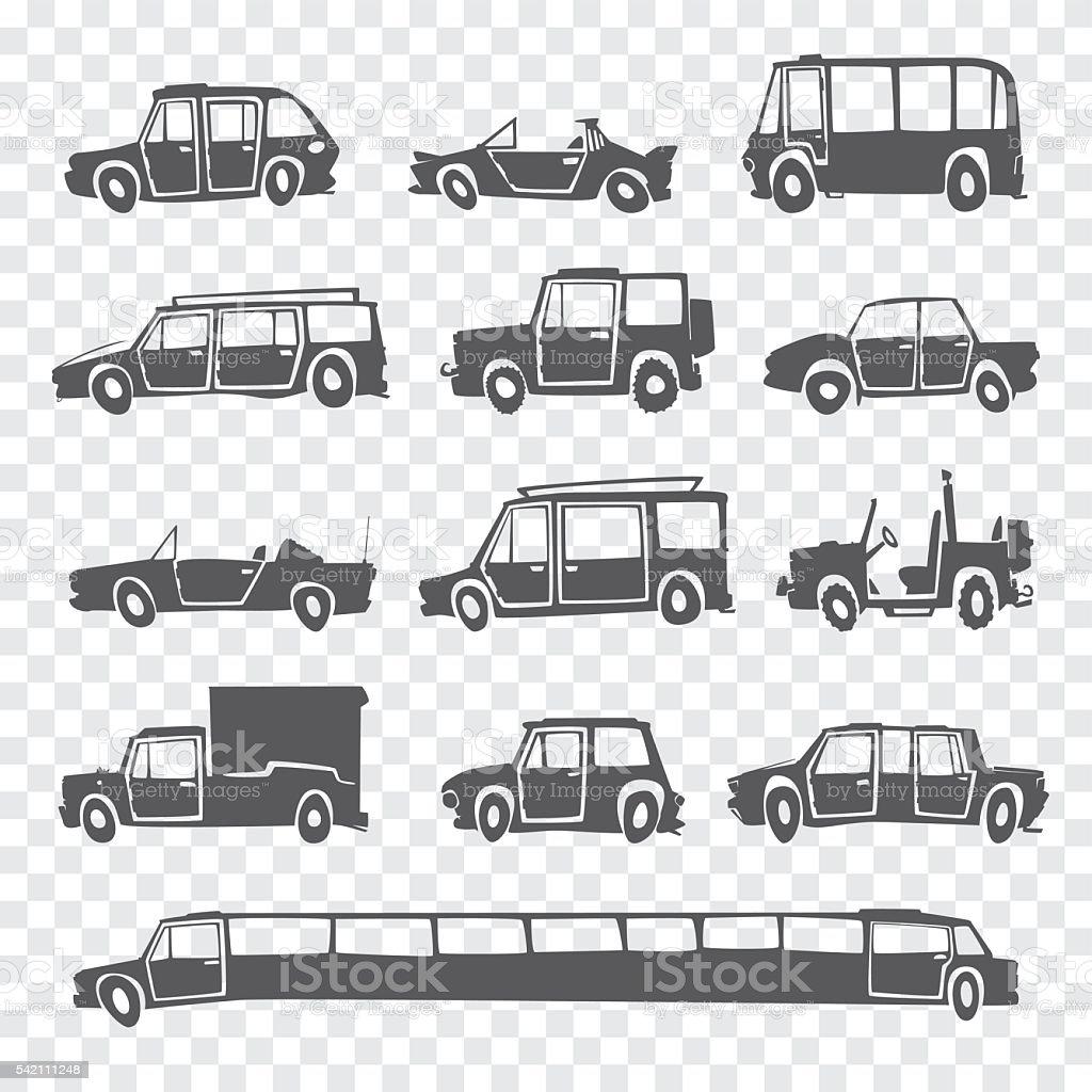 Vector set of funny cartoon car. vector art illustration