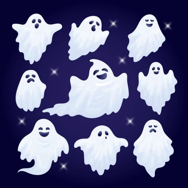 ilustraciones, imágenes clip art, dibujos animados e iconos de stock de conjunto de vector de caracteres de fantasma de halloween divertidos. - aparición conceptos