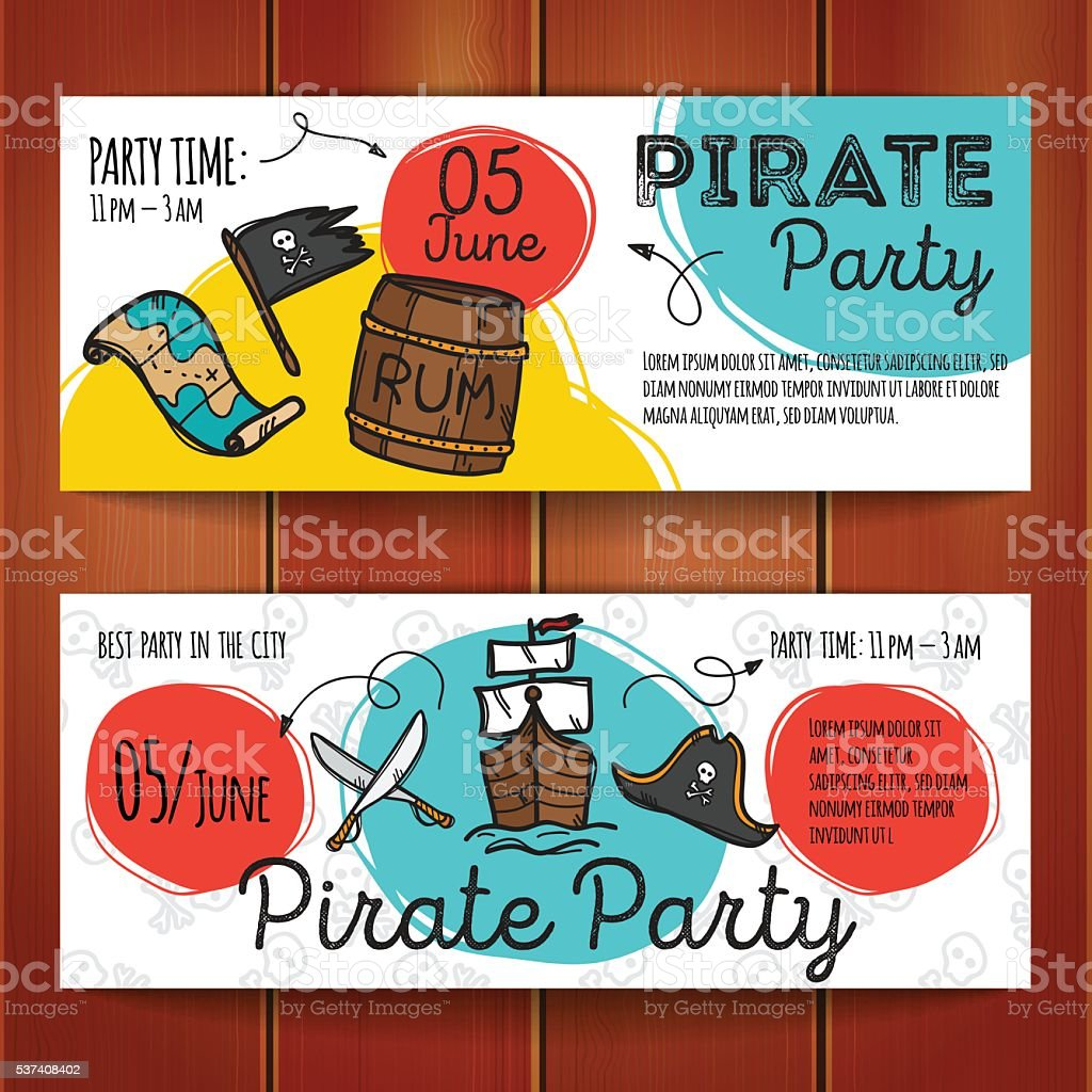 Vector set of funny party flyers. Colorful doodle style pirate vector art illustration