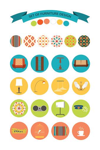 Vector set of furniture design.